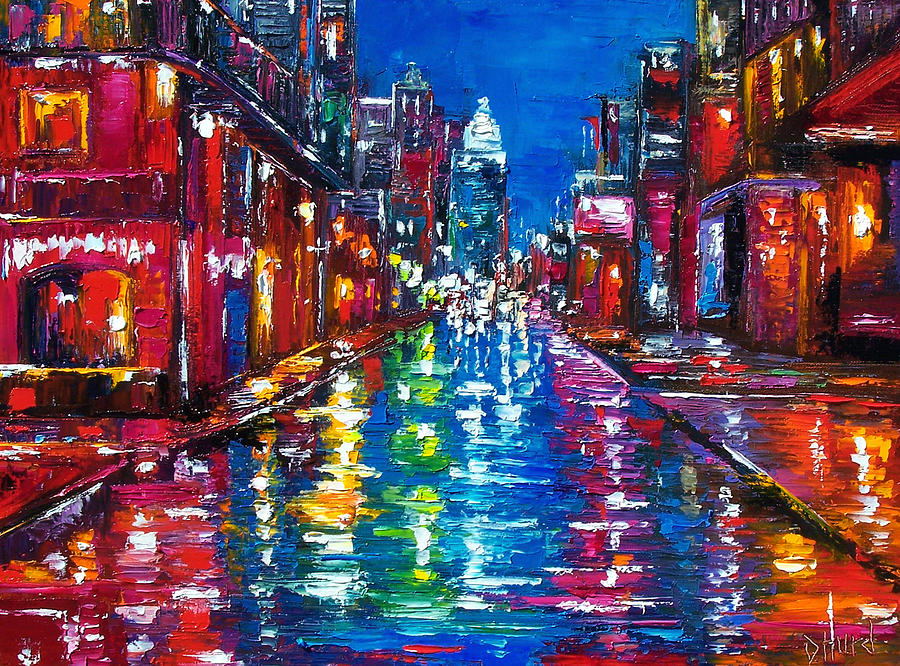 Cityscape Painting - All Night Long by Debra Hurd
