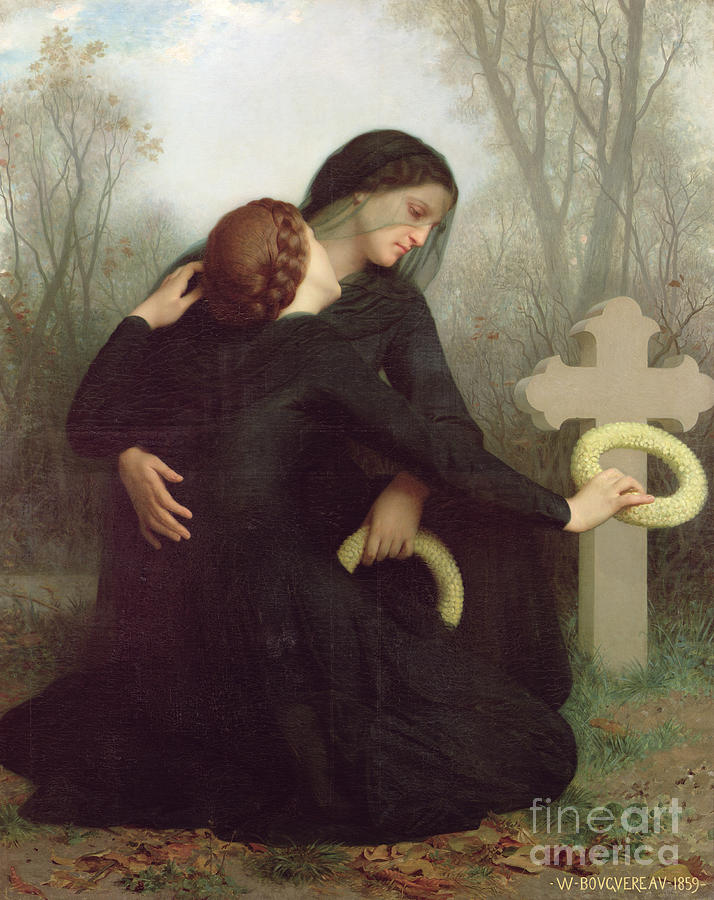 Le Jour Des Morts (all Saints Day) 1859 (oil On Canvas) By William-adolphe Bouguereau (1825-1905) Le Jour Des Morts; Female; Widow; Mourning; Grave; Cemetery; Gravestone; Tombstone; Black Veil; Child; Mother; Daughter; Sadness; Sorrow; Day Of The Dead; 1 November; Grave Painting - All Saints Day by William Adolphe Bouguereau