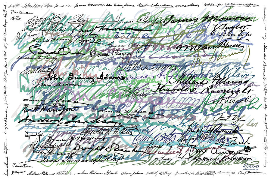 Abstract Painting - All The Presidents Signatures Teal Blue by Tony Rubino