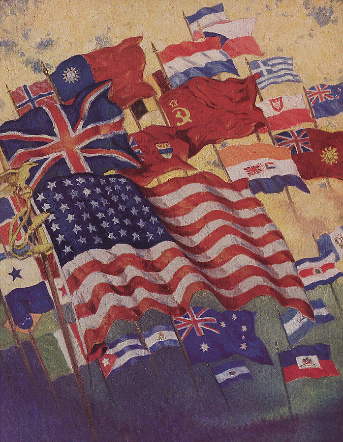 Allied Flags - World War II is a painting by American School which was ...