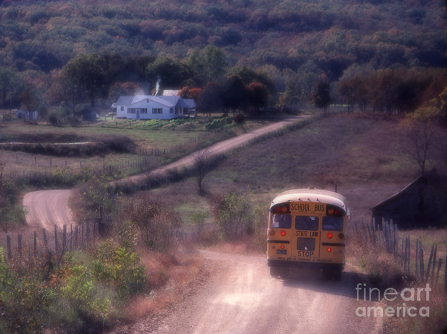 Rural School Bus Photograph - Almost Home by Garry McMichael