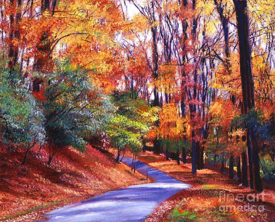 Autumn Painting - Along The Winding Road by David Lloyd Glover