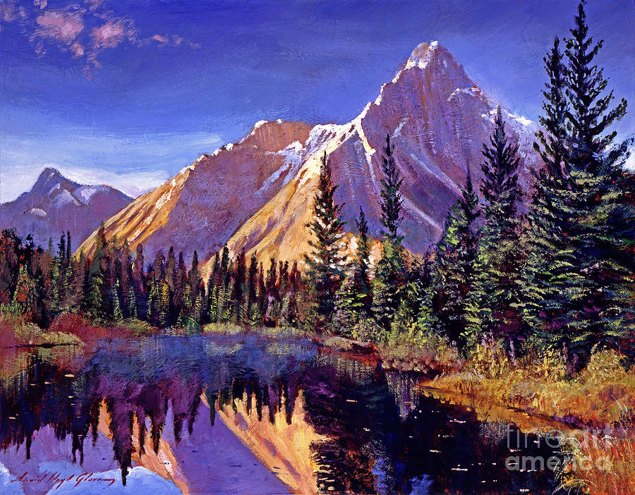 Mountains Painting - Alpine Lake Mist by David Lloyd Glover