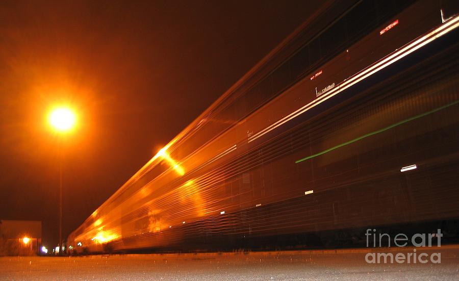 Amber Night Train Photograph