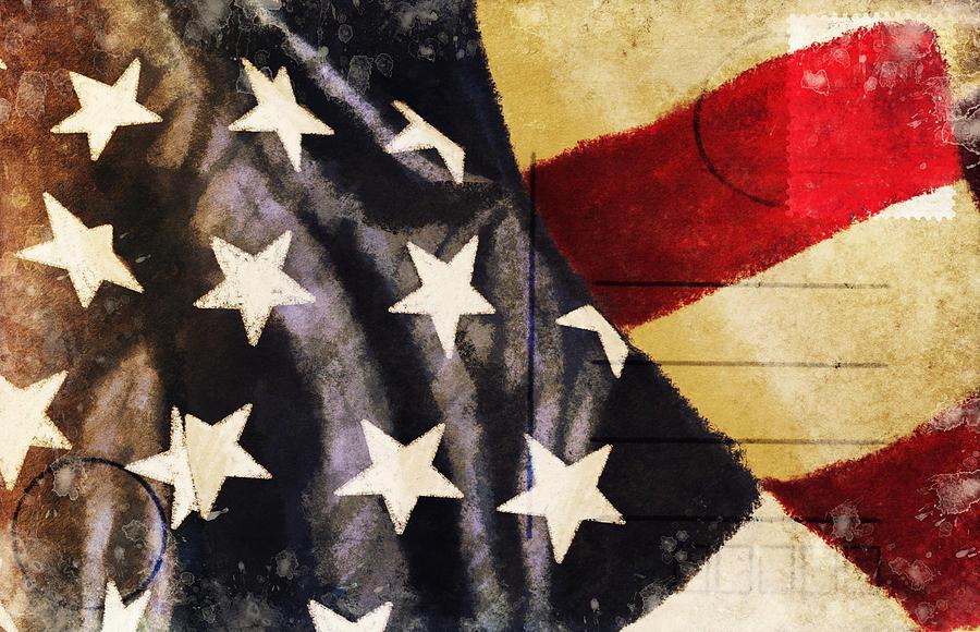 Address Photograph - America Flag Pattern Postcard by Setsiri Silapasuwanchai