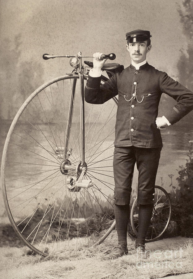 1880s Photograph - American Bicyclist, 1880s by Granger