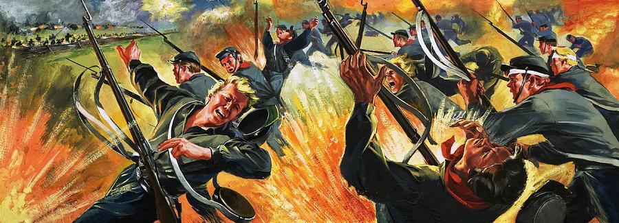 American Civil War Battle Scene Painting by Angus McBride |American Civil War Battle Paintings