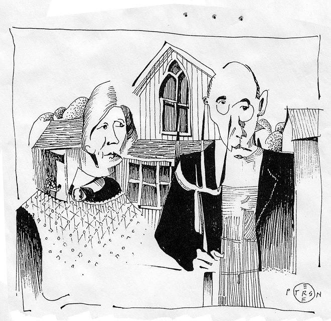Midwestern Regional Art Farmer Drawing - American Gothic Revisited by Gary Peterson