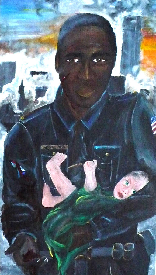 Look Into The Eyes Of A Hero. An American Police Officer Rescues An Orphaned Baby. It Was September 11th. Towers Burning Painting - American Love by Jesika Breitenfeld