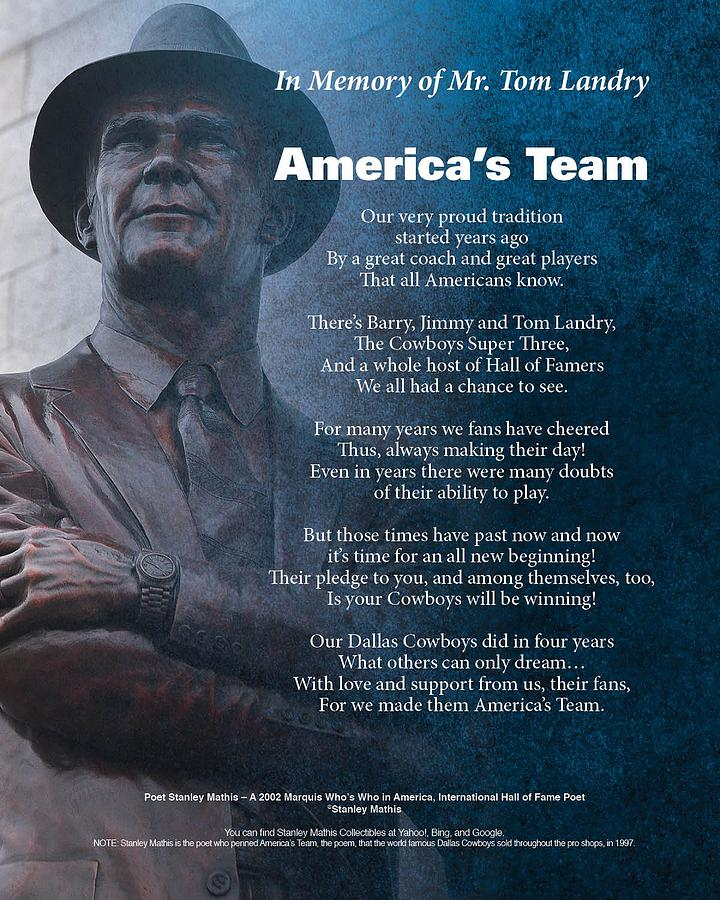 Appraised Dallas Cowboys Fans Posters Digital Art - Americas Team Poetry Art by Stanley Mathis