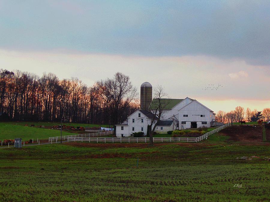 Prosperous Amish Farm House Barn Silo Sunset Twilight Dusk Fall Lancaster County Pennsylvania Pa Clean Still Country Rural Landscape Peaceful Quiet Calm Gordon Beck Art Photograph - Amish Farm At Dusk by Gordon Beck