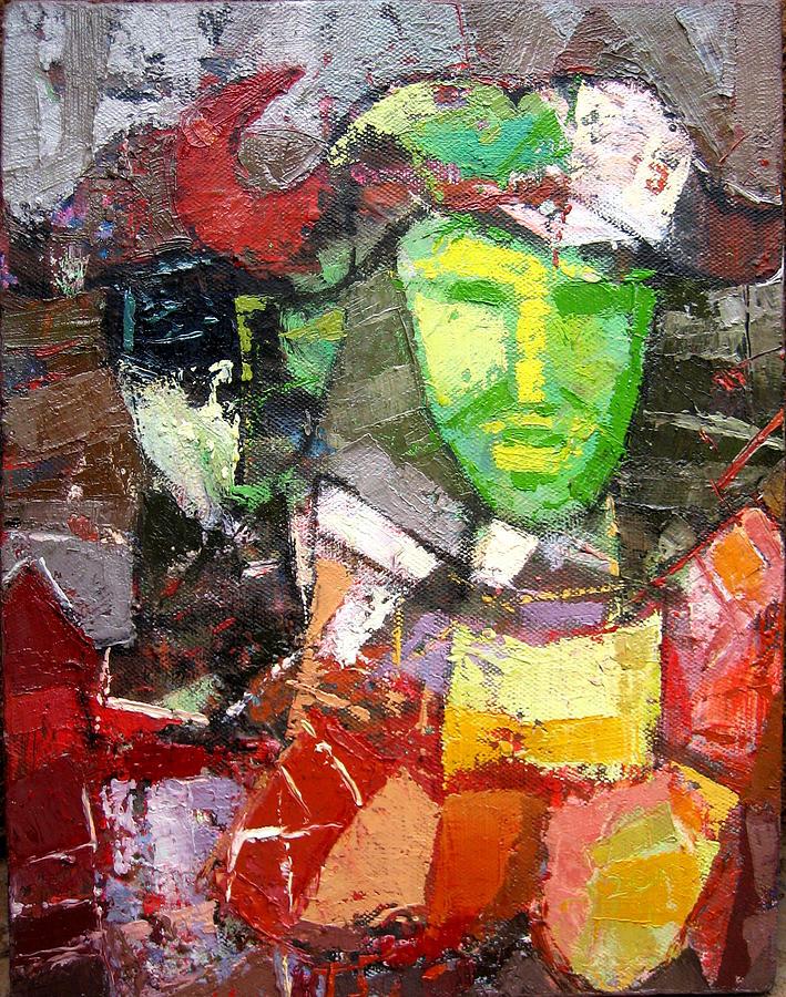 Green Painting - Among The Living by Henry Mzili Mujunga