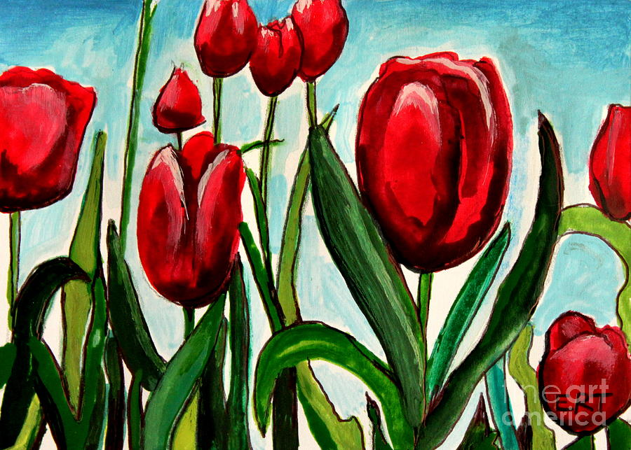 Tulips Painting - Among The Tulips by Elizabeth Robinette Tyndall