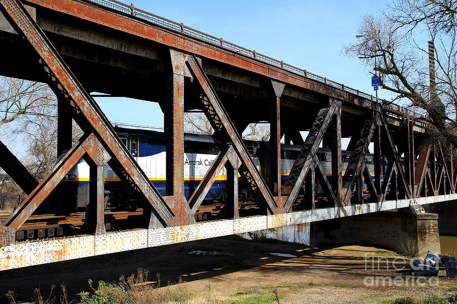 Transportation Photograph - Amtrak California Crossing The Old Sacramento Southern Pacific Train Bridge . 7d11410 by Wingsdomain Art and Photography