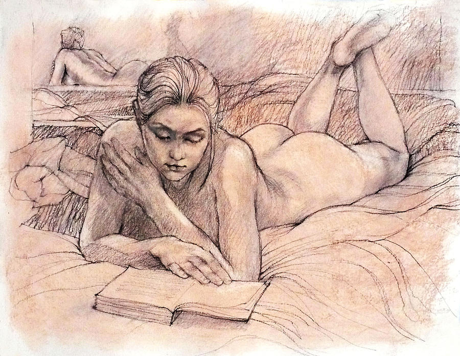Female Nudes Drawing - Amy Reading by Roz McQuillan