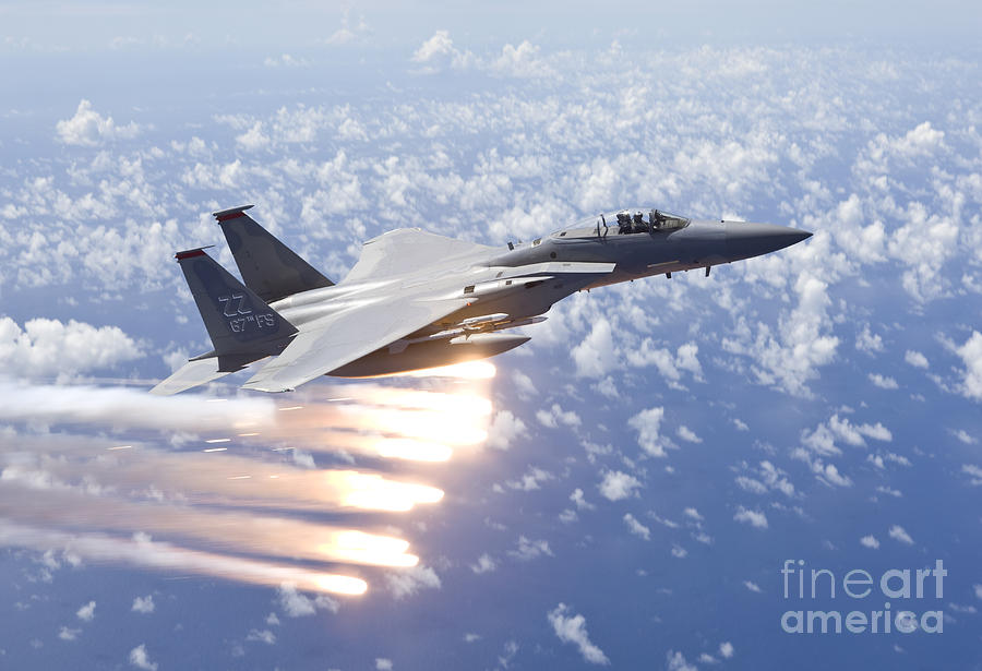 Kadena Decorative Pillow : An F-15 Eagle Releases Flares Photograph by HIGH-G Productions