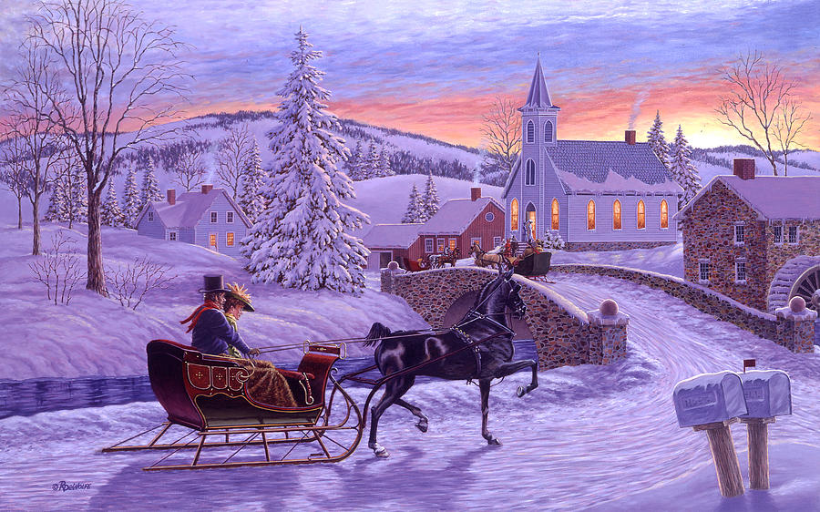 Christmas Painting - An Old Fashioned Christmas by Richard De Wolfe