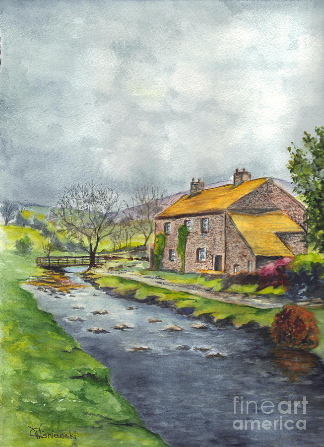 Hand Painted Painting - An Old Stone Cottage In Great Britain by Carol Wisniewski