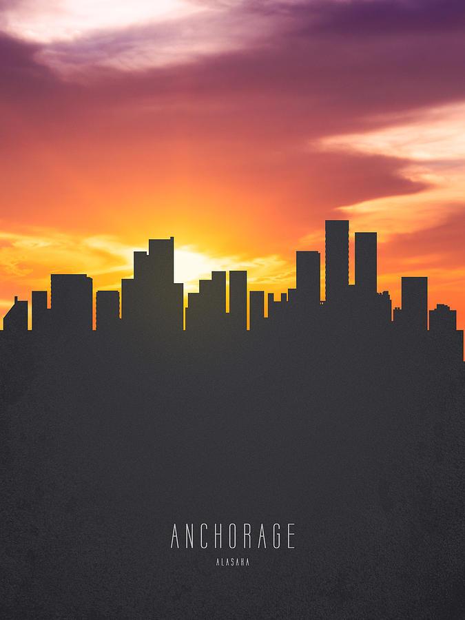 Anchorage Alaska Sunset Skyline 01 Painting