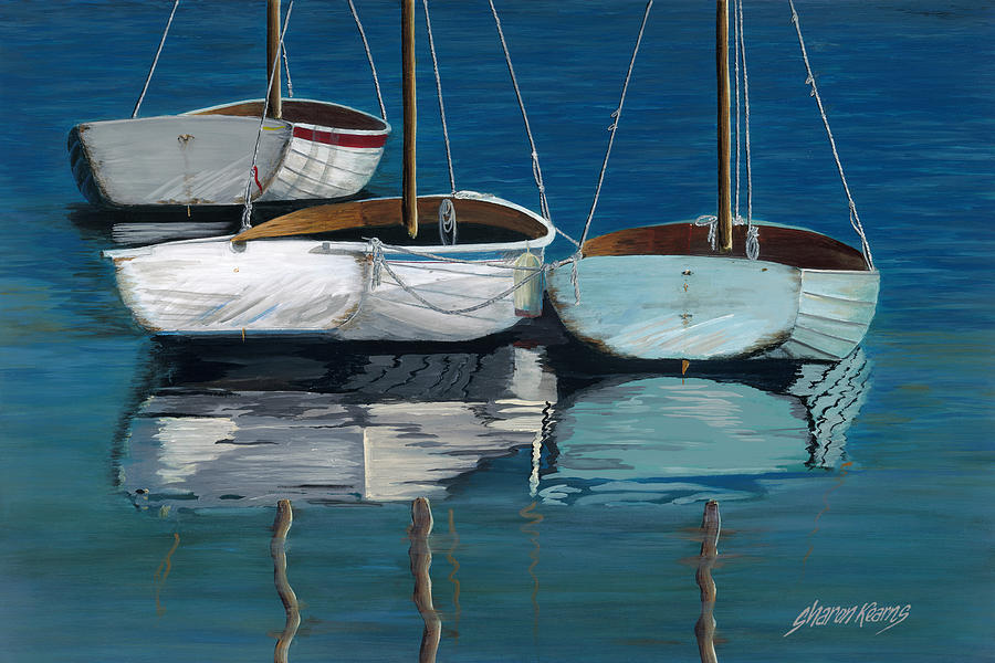 North Carolina Painting - Anchored Reflections I by Sharon Kearns