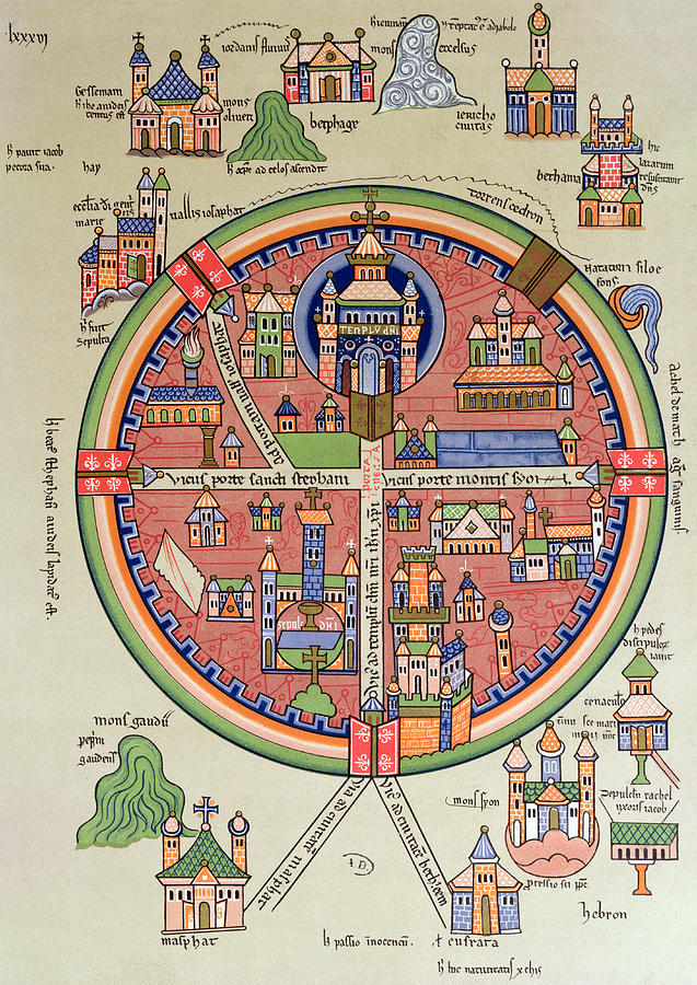 Map Of Jerusalem And Palestine Drawing - Ancient Map Of Jerusalem And Palestine by French School