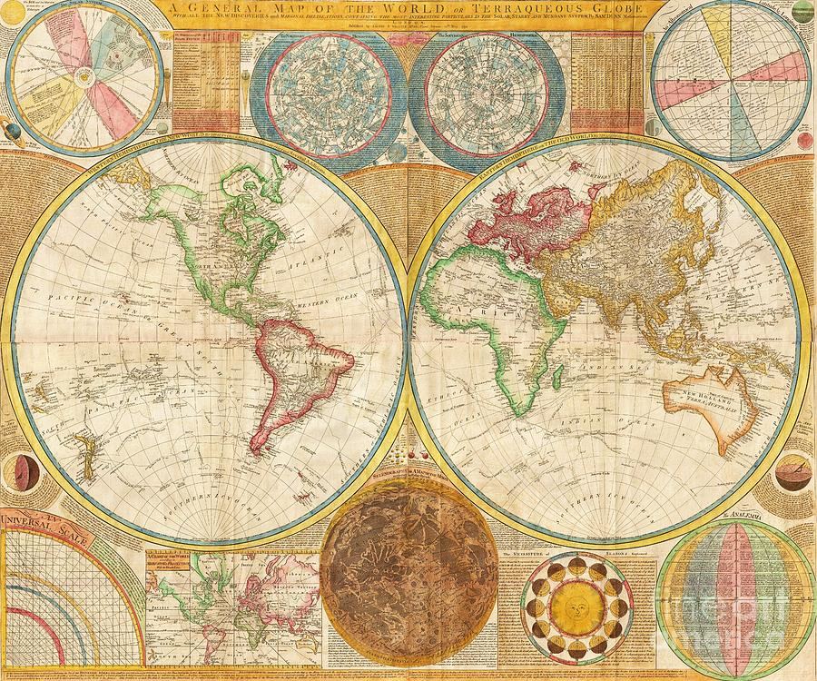 Ancient Map World In Hemispheres Painting