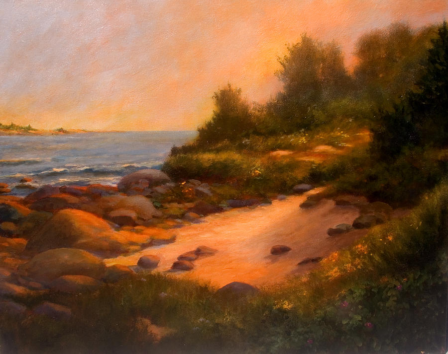 Sunset Painting - Ancient Rocks by Jan Blencowe
