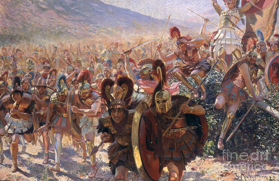 Ancient Warriors (oil On Canvas) By Georges Marie Rochegrosse (1859-1938) Painting - Ancient Warriors by Georges Marie Rochegrosse