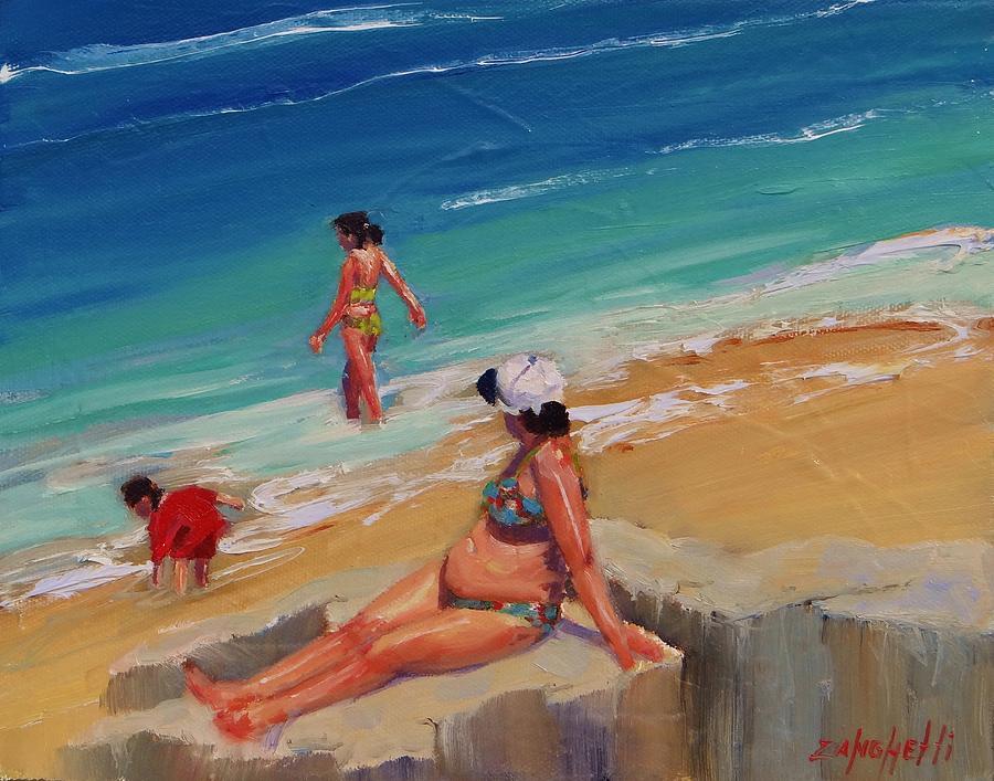 Beach Scene Painting - And Baby Makes Three by Laura Lee Zanghetti