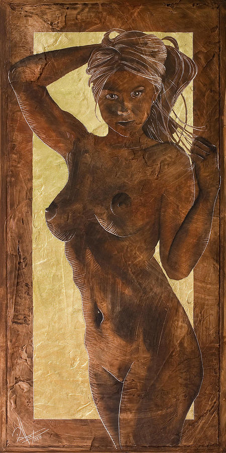 Nude Painting - Angel In Gold by Richard Hoedl