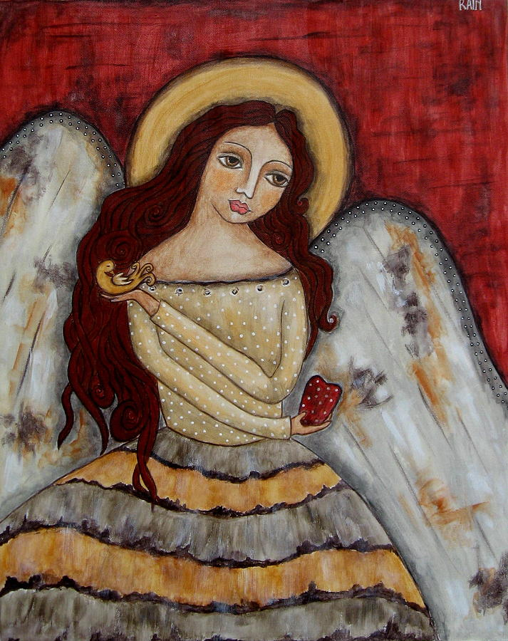 Folk Art Paintings Paintings Painting - Angel Of Kindness by Rain Ririn