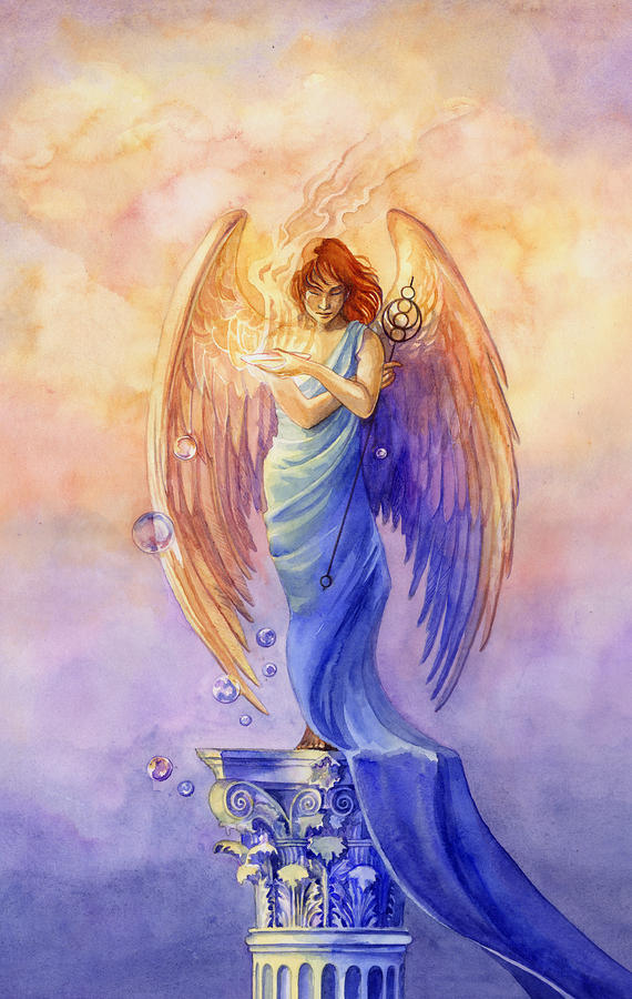 Angel Painting - Angel Of Truth And Illusion by Janet Chui