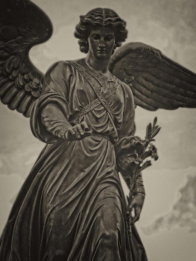 Statue Photograph - Angel Statue Bethesda Fountain Central Park by Robert Ullmann