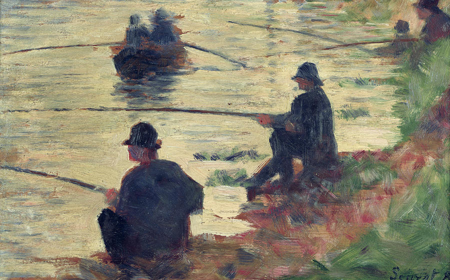 E Seurat (1859-91) Painting - Anglers by Georges Pierre Seurat