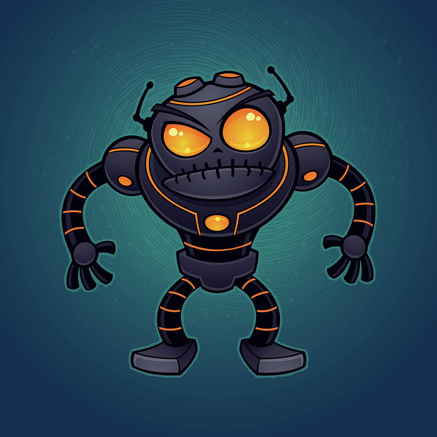 Robot Drawing - Angry Robot by John Schwegel