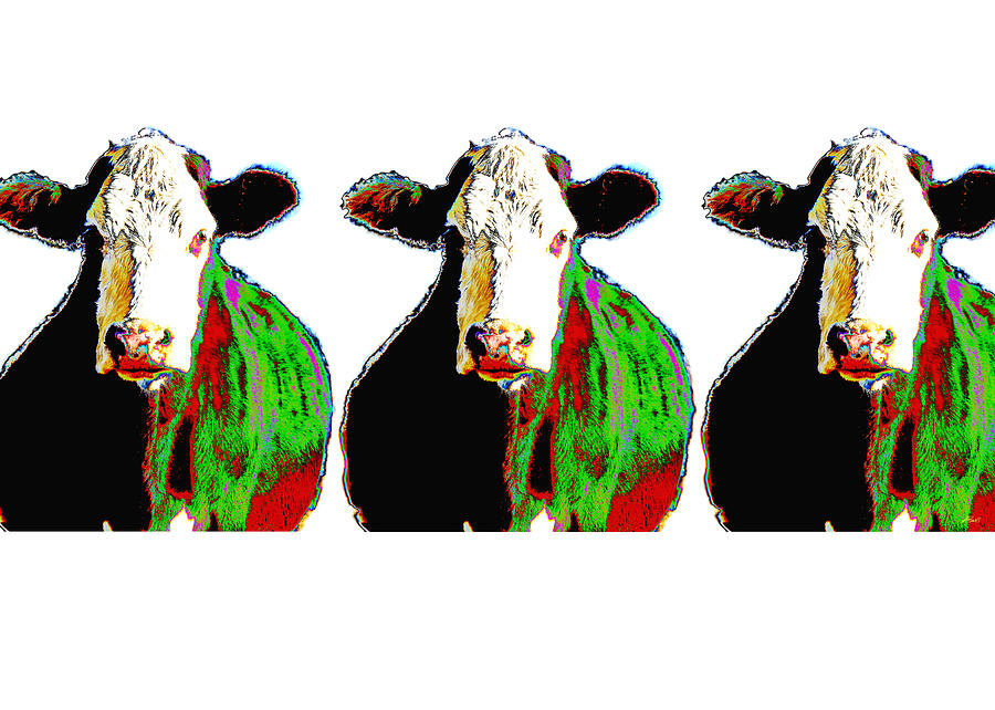 Cow Photograph - Animals Cows Three Pop Art Cows Warhol Style by Ann Powell