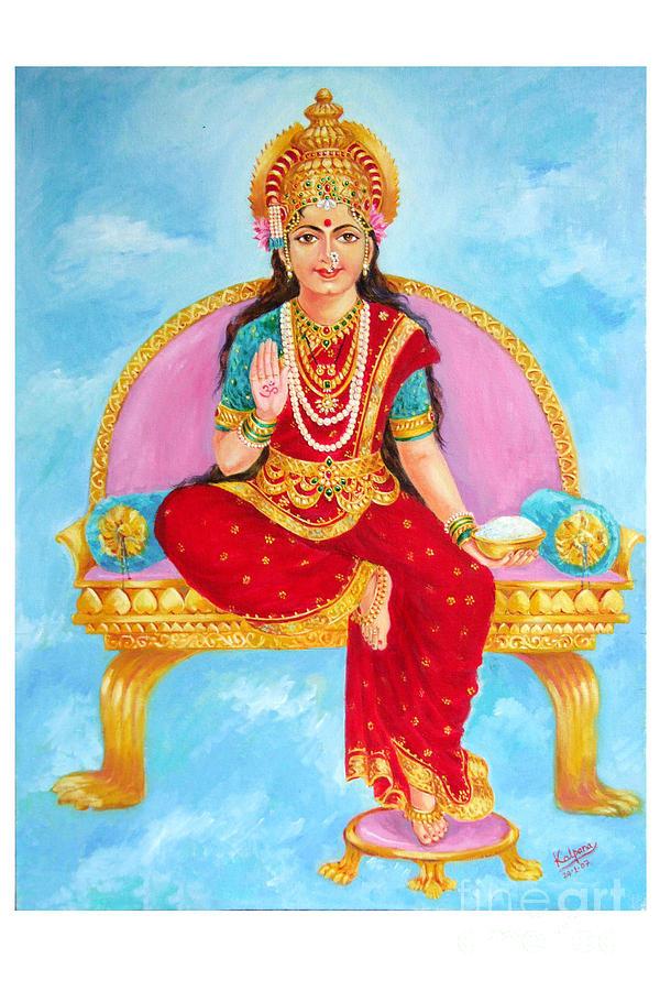 Indian Goddess Painting - Annapurna Devi by Kalpana Talpade Ranadive