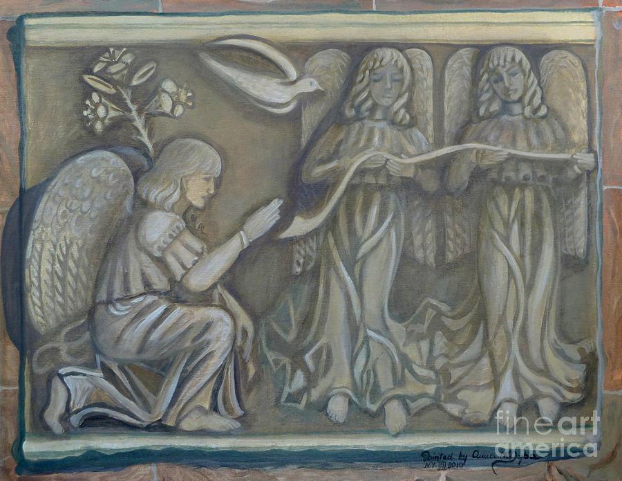 Folkartanna Painting - Annunciation - Existing Fragment by Anna Folkartanna Maciejewska-Dyba