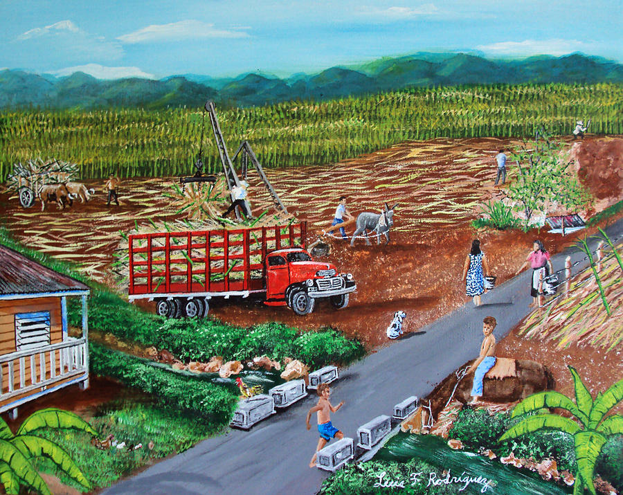 Sugarcane Field Painting - Anoranzas by Luis F Rodriguez