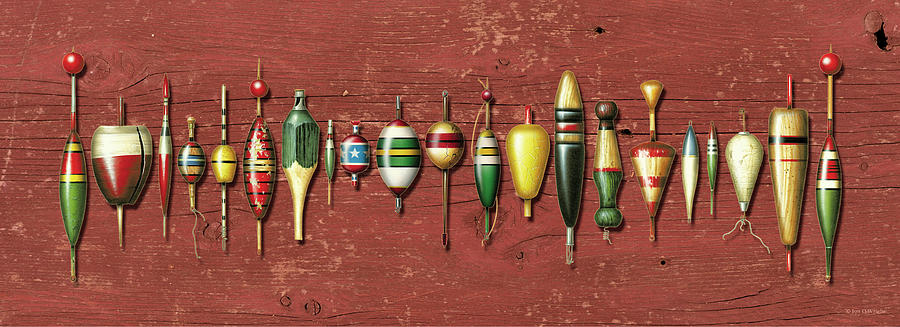 Jon Q Wright Painting - Antique Bobbers Red  by JQ Licensing