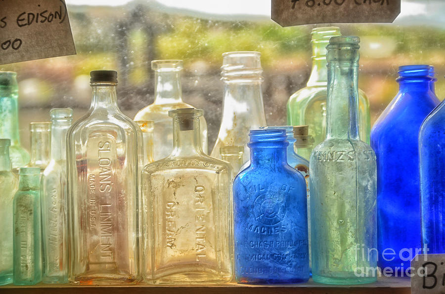 Old Photograph - Antique Bottles by Tamera James