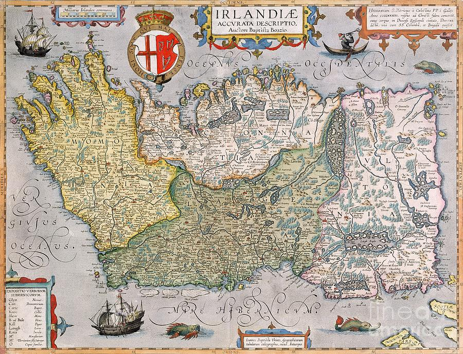 Eire Drawing - Antique Map Of Ireland by  English School