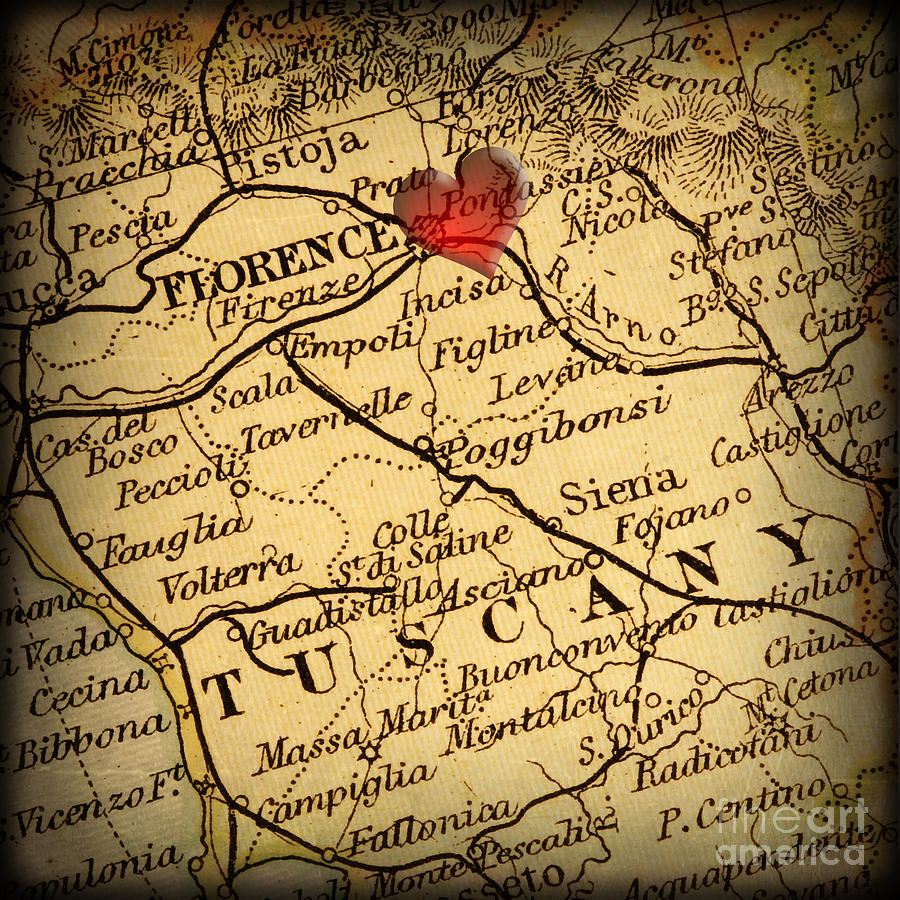 Florence Photograph - Antique Map With A Heart Over The City Of Florence In Italy by ELITE IMAGE photography By Chad McDermott