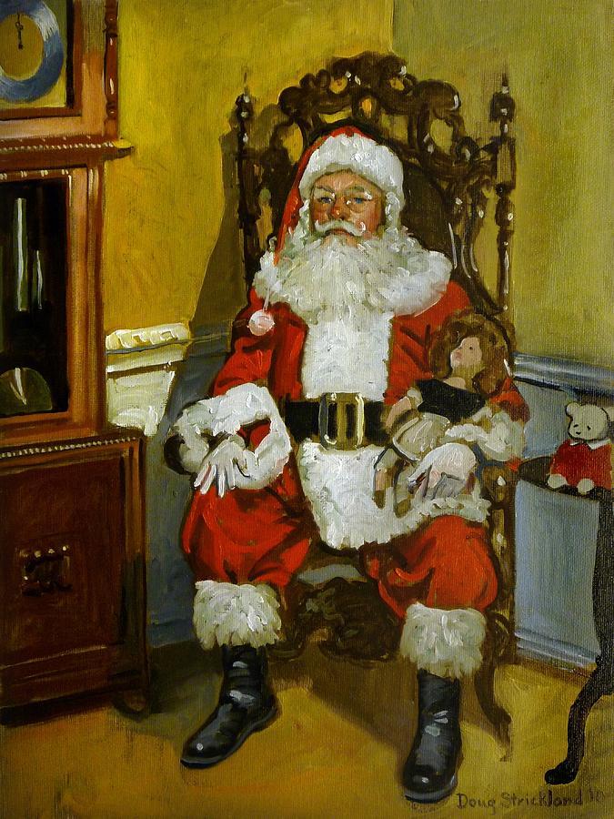 Antique Santa Painting