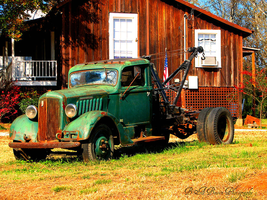 Tow Truck Photograph - Antique Tow Truck by Barbara Bowen