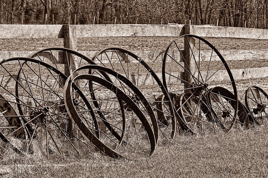 Wheel Photograph - Antique Wagon Wheels I by Tom Mc Nemar