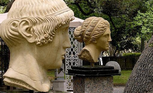 Stone Limestone Bust Portrait Head Greek Apollo Aphrodite Phideas Praxiteles Sculpture - Apollo And Aphrodite by Gilbert E Barrera - Artist