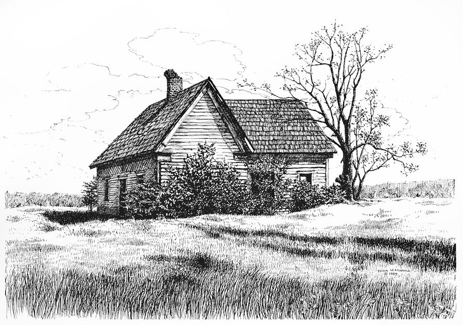appalachee farmhouse drawing by peter muzyka