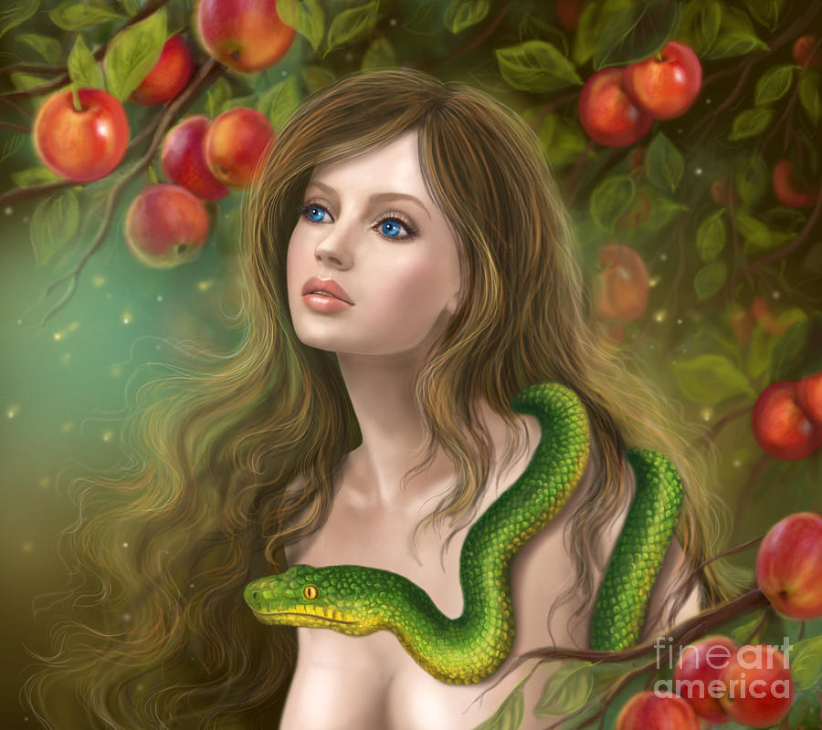 Apple Temptation. Beautiful Woman Eve And Snake. Young ...