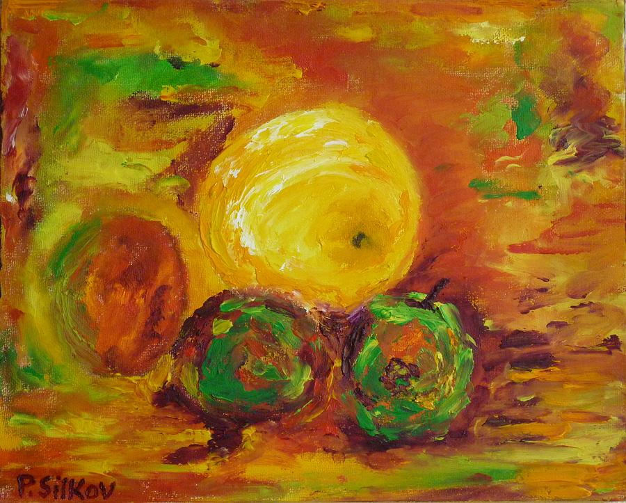Apples Painting - Apples And Grapefruit by Peter Silkov